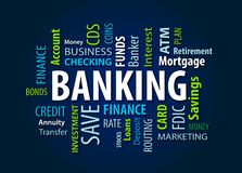 Banking Word Cloud. On a Blue Background stock images
