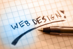 Web design. Write by hand stock photos