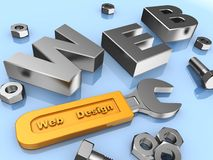 Web design. Www, screws, bolts and wrench with yellow handle Stock Photography