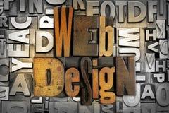 Web Design. The words WEB DESIGN written in vintage letterpress type Stock Image