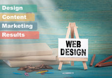 Web design, business and strategic concept. notice board by the books and money, and notifications.  Stock Photos