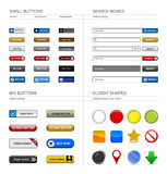 Web Design Button Element. A set of buttons, box searches, and shapes for your web design Royalty Free Stock Image