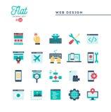 Web design, coding, responsive, app development and more, flat i. Cons set, vector illustration stock illustration