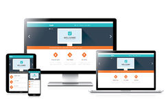 Web design completamente rispondente piano del sito Web in computer moderni Immagini Stock