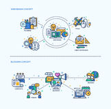 Web design, compositions Blogging en concept d'icônes réglées Photos stock