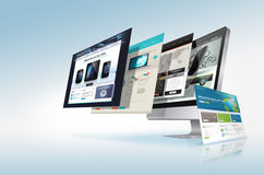 Web design concept. Webpages come out from the monitor Stock Images