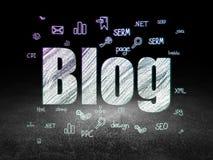 Web design concept: Blog in grunge dark room Royalty Free Stock Image