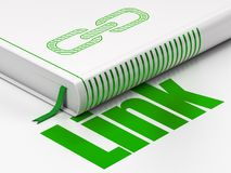 Web design concept: book Link, Link on white background. Web design concept: closed book with Green Link icon and text Link on floor, white background, 3D Stock Photography