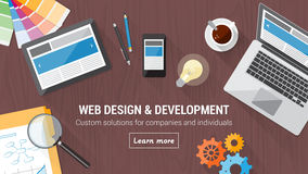 Web design concept desk. Web developer desk with computer, tablet and mobile, responsive web design and digital marketing concept