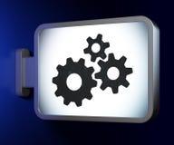 Web design concept: Gears on billboard background Stock Photos