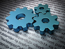 Web design concept: Gears on Html Code background Stock Image