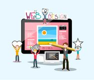 Web Design Concept with Graphic Designer. S, Elements and Big Computer royalty free illustration
