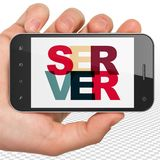 Web design concept: Hand Holding Smartphone with Server on  display Royalty Free Stock Images