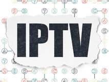 Web design concept: IPTV on Torn Paper background Stock Photography