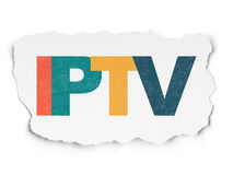 Web design concept: IPTV on Torn Paper background Royalty Free Stock Photos