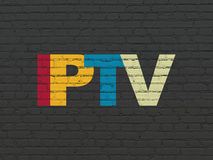 Web design concept: IPTV on wall background. Web design concept: Painted multicolor text IPTV on Black Brick wall background, 3d render stock photography