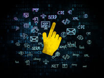 Web design concept: Mouse Cursor on Digital. Web design concept: Pixelated yellow Mouse Cursor icon on Digital background with  Hand Drawn Site Development Icons Stock Photos