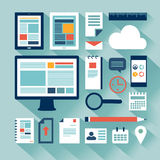 Web design concept with objects and devices Royalty Free Stock Image