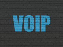 Web design concept: VOIP on wall background. Web design concept: Painted blue text VOIP on Black Brick wall background Royalty Free Stock Photo