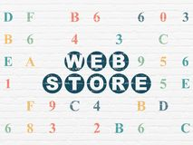 Web design concept: Web Store on wall background. Web design concept: Painted blue text Web Store on White Brick wall background with Hexadecimal Code Royalty Free Stock Photo
