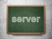 Web design concept: Server on chalkboard background. Web design concept: text Server on Green chalkboard on grunge wall background, 3D rendering Royalty Free Stock Photo