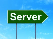 Web design concept: Server on road sign background Stock Photo
