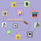 Web design concept. Set of flat icons Royalty Free Stock Photography