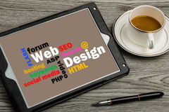 Web design concept on touch screen Stock Photography