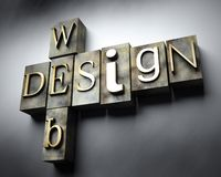 Web design concept, vintage letterpress text Royalty Free Stock Images