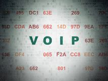 Web design concept: VOIP on Digital Data Paper background. Web design concept: Painted green text VOIP on Digital Data Paper background with Hexadecimal Code Royalty Free Stock Photos