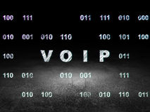 Web design concept: VOIP in grunge dark room. Web design concept: Glowing VOIP icon in grunge dark room with Dirty Floor, black background with Binary Code, 3d royalty free stock photo