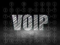 Web design concept: VOIP in grunge dark room Stock Photos