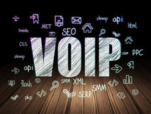 Web design concept: VOIP in grunge dark room. Web design concept: Glowing text VOIP, Hand Drawn Site Development Icons in grunge dark room with Wooden Floor royalty free stock images