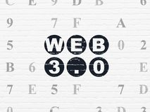 Web design concept: Web 3.0 on wall background. Web design concept: Painted black text Web 3.0 on White Brick wall background with Hexadecimal Code Royalty Free Stock Image