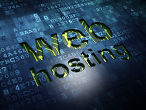 Web design concept: Web Hosting on digital screen background. Web design concept: digital screen with word Web Hosting, 3d render Royalty Free Stock Photography