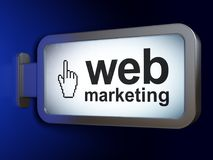 Web design concept: Web Marketing and Mouse Cursor on billboard background. Web design concept: Web Marketing and Mouse Cursor on advertising billboard Royalty Free Stock Photography