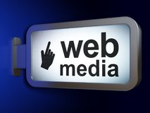 Web design concept: Web Media and Mouse Cursor on billboard background. Web design concept: Web Media and Mouse Cursor on advertising billboard background, 3D Royalty Free Stock Photo