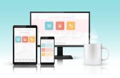 Web design concept. Website development for modern devices stock illustration