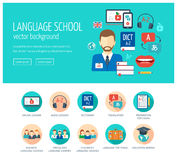 Web design concept for website and landing page for foreign language school and courses. Web banner. Flat design. Vector. Illustration Royalty Free Stock Images