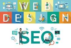 Web design, conception de SEO Vector Concept Flat Style Image libre de droits