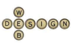 Web design dans des clés de machine à écrire photos libres de droits