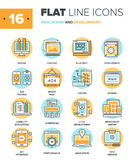 Web Design and Development. Abstract vector collection of flat line web design and development icons. Elements for mobile and web applications Stock Photos