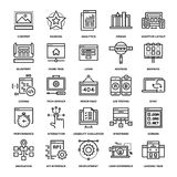 Web Design and Development. Abstract vector collection of line web development icons Stock Images