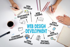 Web Design and Development concept. The meeting at the white office table Stock Photo