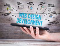 Web Design and Development concept. Tablet computer in the hand. Old wooden background Stock Photo
