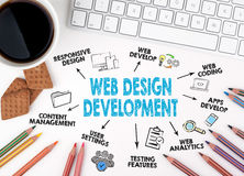 Web Design and Development concept. White office desk Royalty Free Stock Image