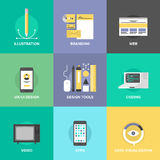 Web design and development flat icons. Website user interface design, web page coding and programming, mobile apps development, branding identity and data Royalty Free Stock Image