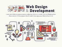 Web design and Development. Icons and symbols for web header, banner Royalty Free Stock Images
