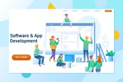 Web design and development. Site under construction. Flat vector illustration. Webpage building and software technology development. A team of young royalty free illustration