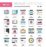 Web Design and Development. Vector set of web design and development flat web icons. Each icon neatly designed on pixel perfect 64X64 size grid. Fully editable Stock Images